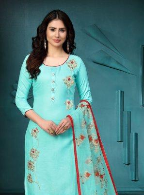 Sea Green Festival Cotton Churidar Suit