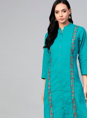 Sea Green Festival Cotton Party Wear Kurti
