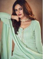 Sea Green Festival Faux Georgette Designer Palazzo Salwar Suit