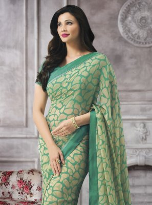 Sea Green Festival Faux Georgette Printed Saree