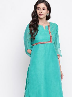 Sea Green Festival Party Wear Kurti