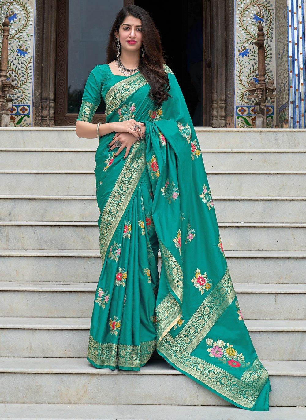 Sea Green Festival Traditional Designer Saree