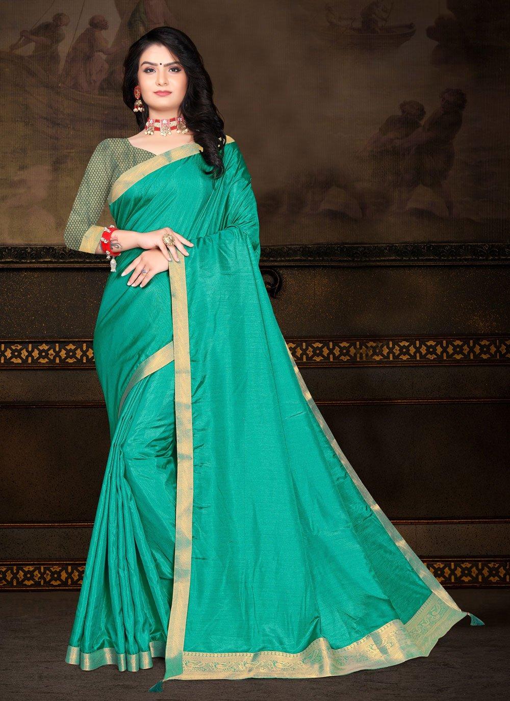 Sea Green Festival Vichitra Silk Traditional Saree