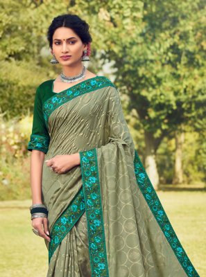 Sea Green Foil Print Classic Designer Saree
