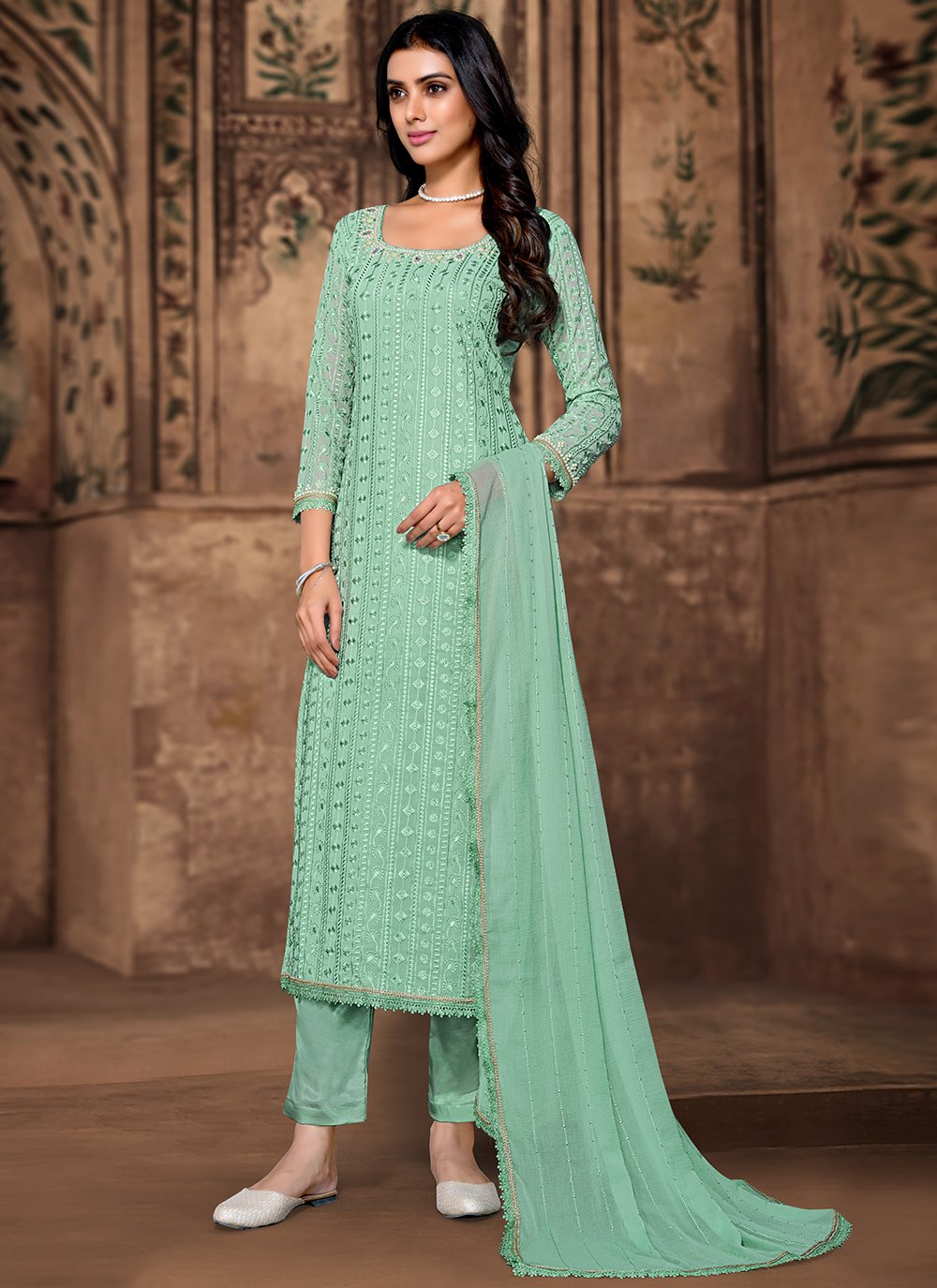 Sea Green Georgette Embroidered Pant Style Suit