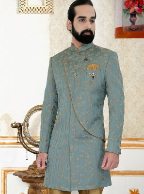 Sea Green Jacquard Embroidered Indo Western