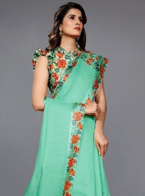 Sea Green Lace Jute Classic Saree