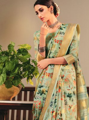 Sea Green Linen Printed Saree