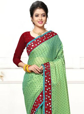 Sea Green Mirror Faux Georgette Trendy Saree