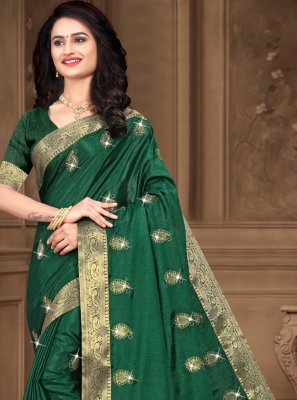 Sea Green Party Silk Contemporary Saree