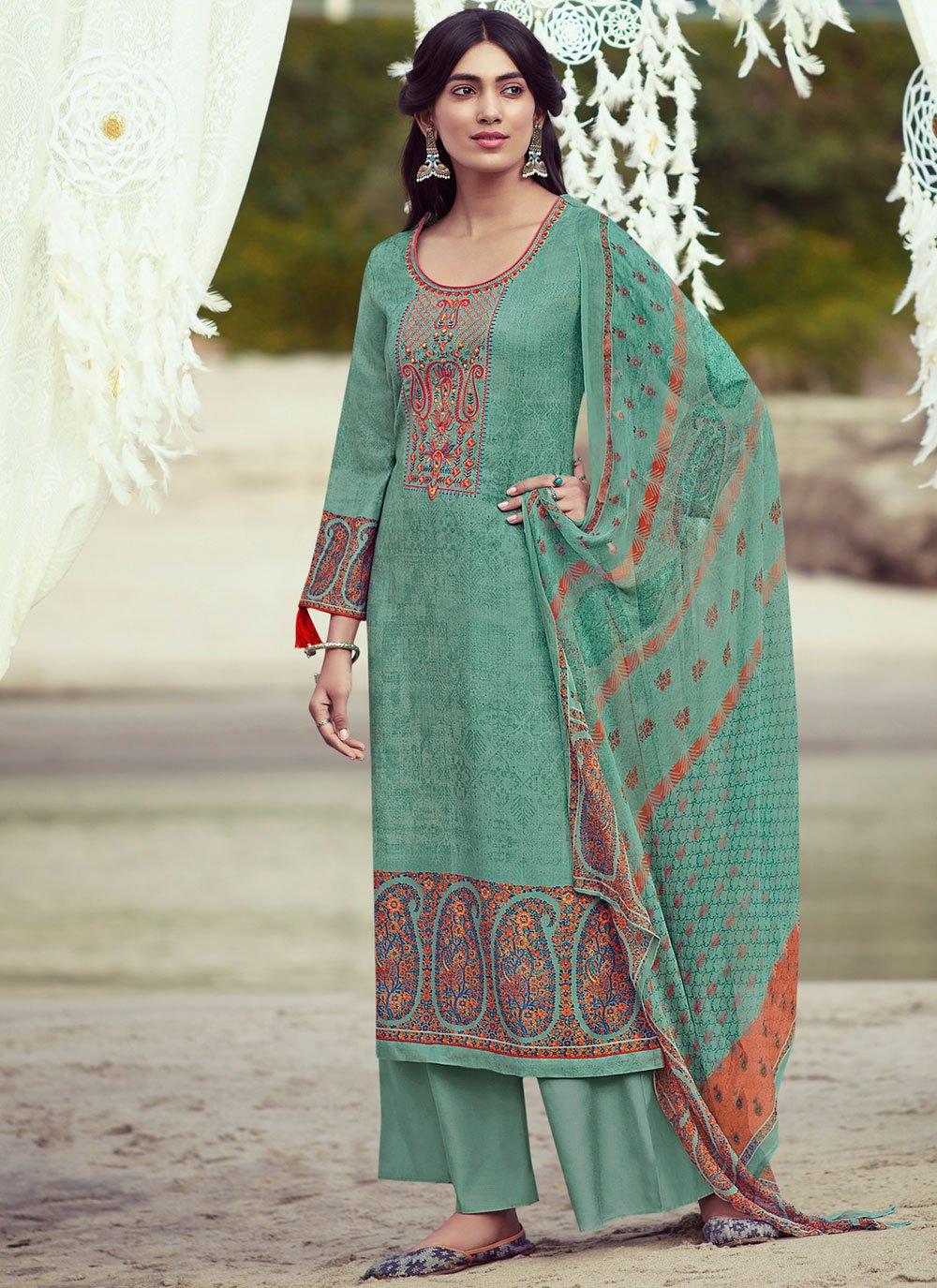 Sea Green Pashmina Embroidered Designer Palazzo Salwar Suit