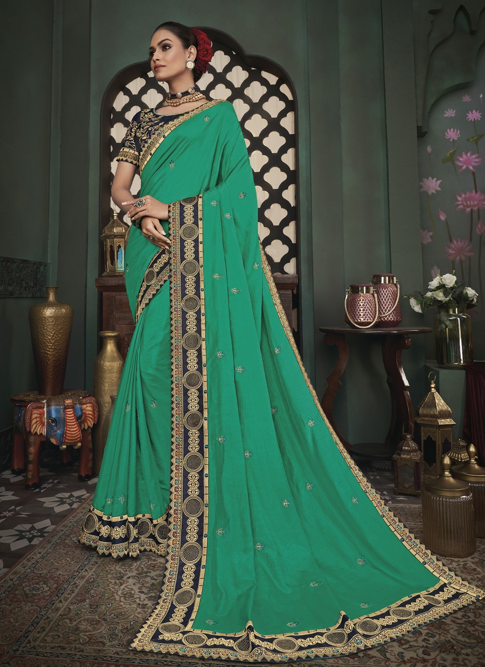 Sea Green Patch Border Fancy Fabric Classic Designer Saree