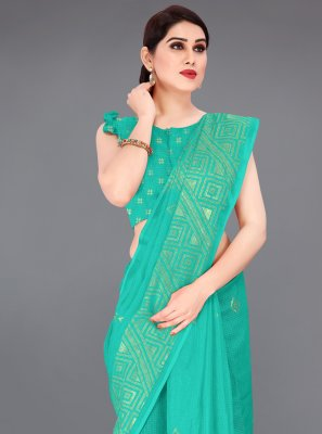 Sea Green Print Fancy Fabric Printed Saree