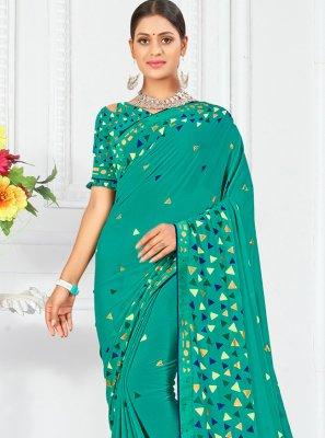 Sea Green Print Weight Less Traditional Saree