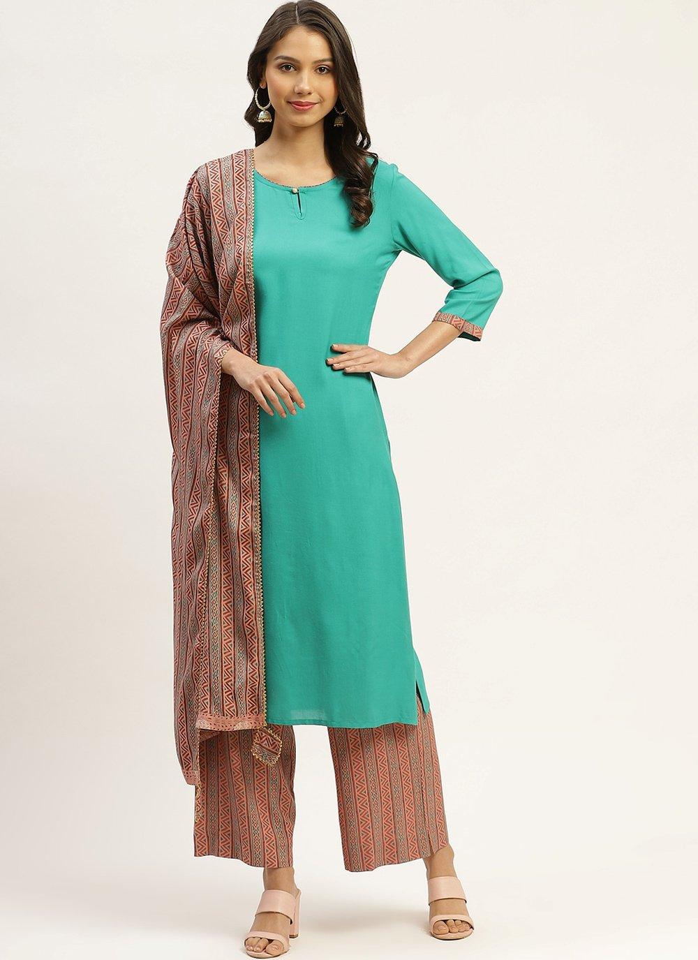 Sea Green Rayon Readymade Suit