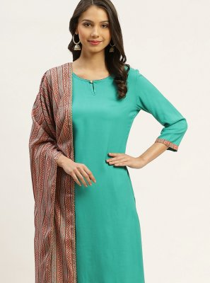 Sea Green Rayon Readymade Suit