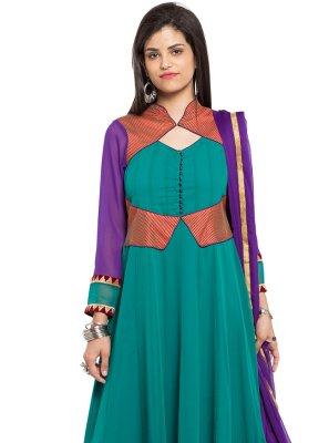 Sea Green Reception Readymade Anarkali Salwar Suit