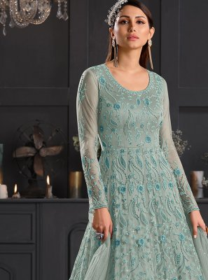 Sea Green Resham Net Anarkali Salwar Suit