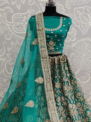 Sea Green Satin Silk Resham Lehenga Choli