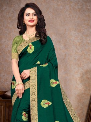 Sea Green Silk Embroidered Classic Saree