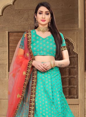 Sea Green Silk Engagement Lehenga Choli
