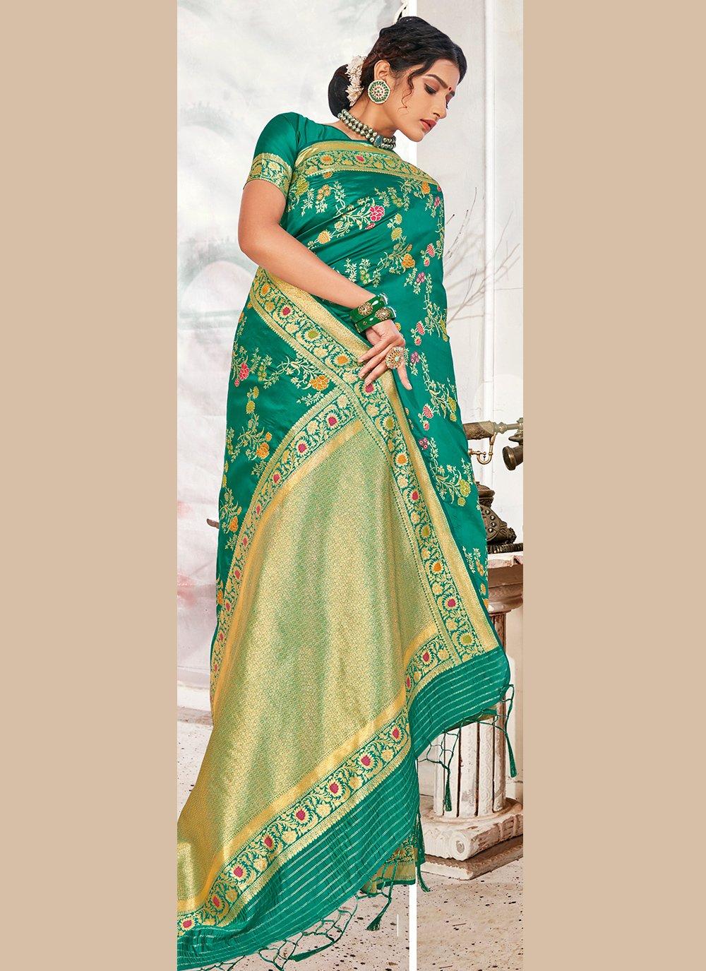 Sea Green Weaving Banarasi Silk Designer Traditional Saree