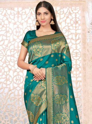 Sea Green Weaving Banarasi Silk Traditional Saree