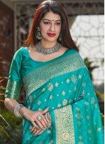 Sea Green Weaving Ceremonial Designer Traditional Saree