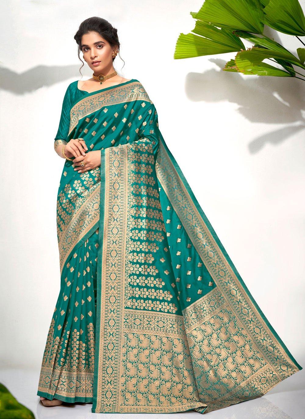 Sea Green Weaving Festival Traditional Designer Saree