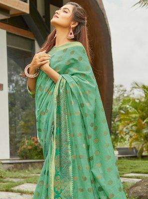 Sea Green Weaving Mehndi Traditional Saree