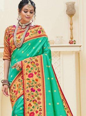 Sea Green Weaving Sangeet Designer Traditional Saree