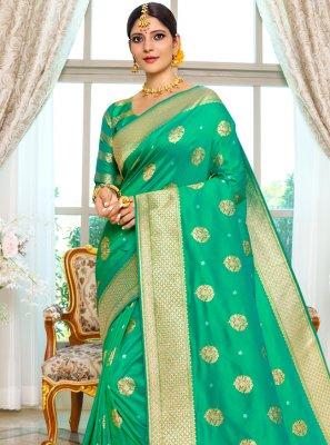 Sea Green Weaving Traditional Designer Saree