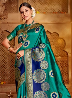Sea Green Weaving Traditional Saree