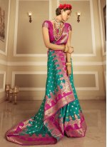 Sea Green Woven Banarasi Silk Designer Traditional Saree
