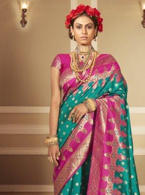 Sea Green Woven Banarasi Silk Designer Traditional Saree
