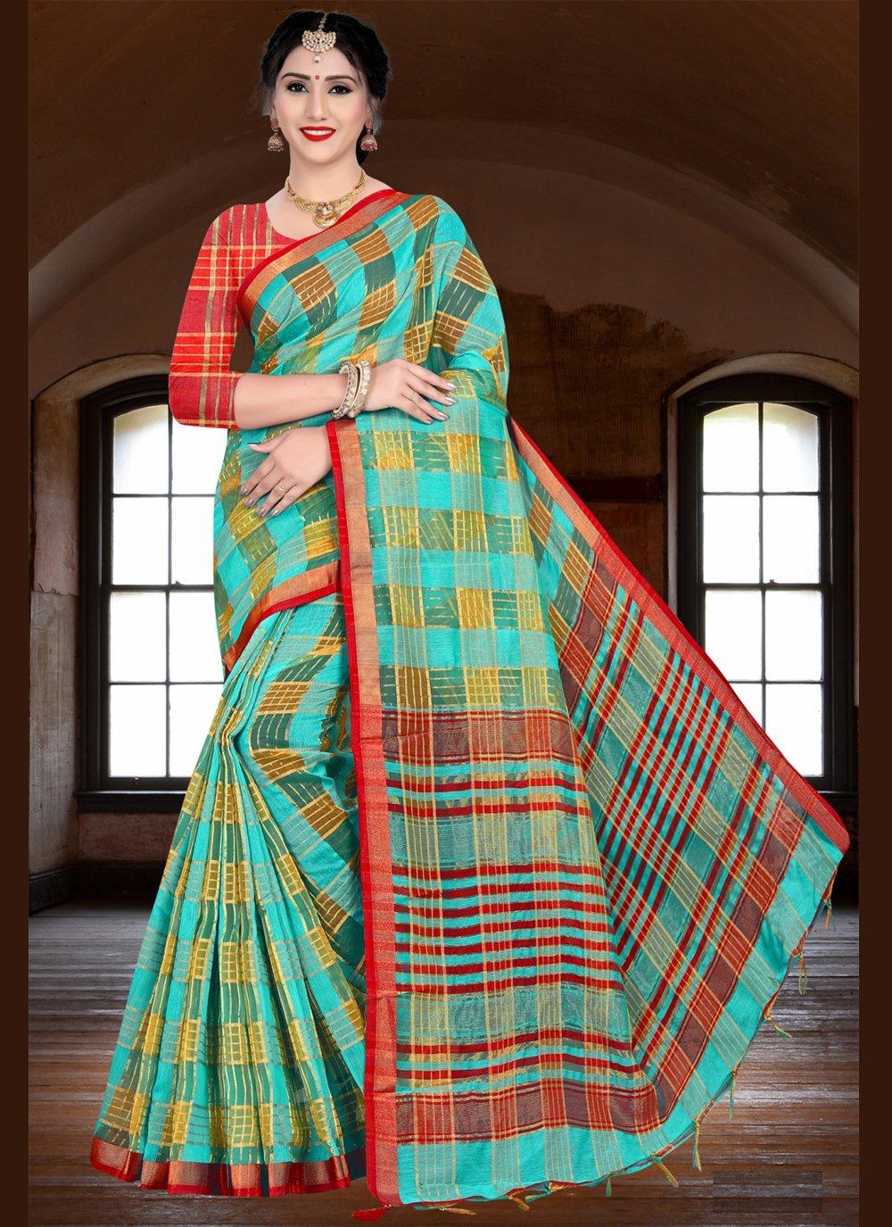 Sea Green Woven Ceremonial Designer Saree