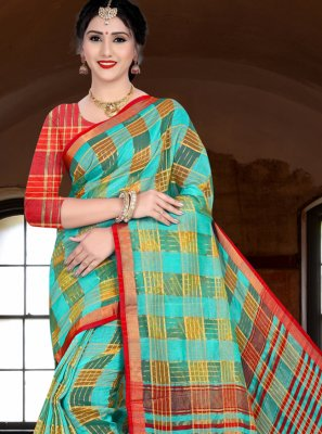 Sea Green Woven Ceremonial Designer Saree