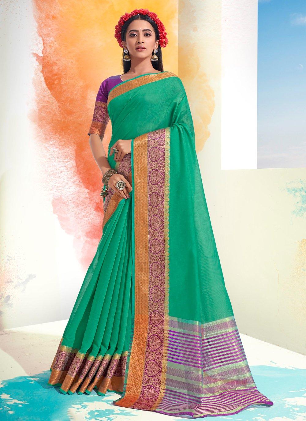 Sea Green Woven Designer Saree