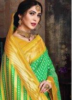 Sea Green Woven Poly Silk Designer Traditional Saree