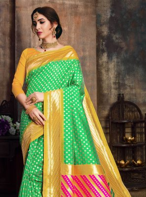 Sea Green Woven Poly Silk Designer Traditional Saree