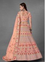 Sequins Art Silk Peach Bollywood Lehenga Choli