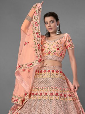 Sequins Art Silk Peach Bollywood Lehenga Choli