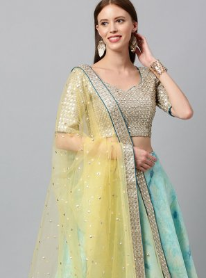 Sequins Art Silk Turquoise Lehenga Choli