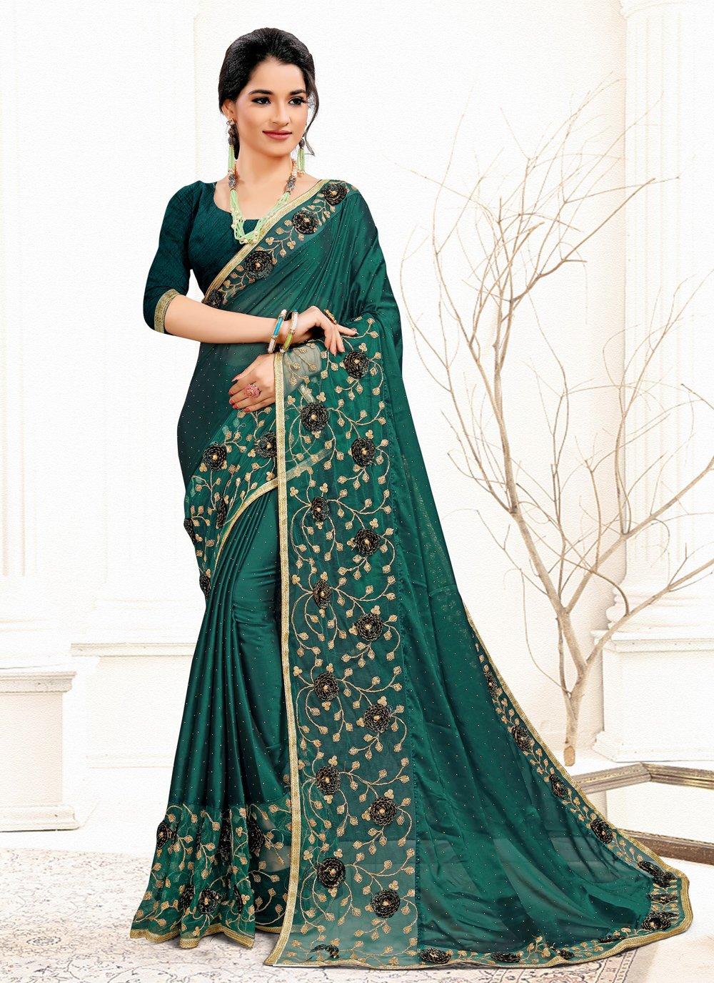 Sequins Banglori Silk Green Designer Traditional Saree