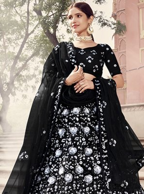 Sequins Black Net Lehenga Choli
