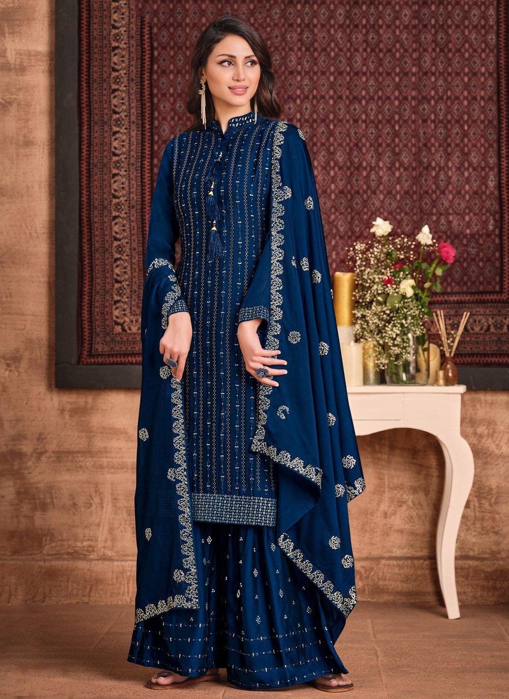 Sequins Blue Faux Georgette Palazzo Designer Suit