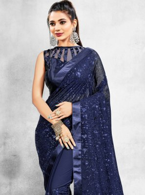 Sequins Faux Georgette Blue Trendy Saree