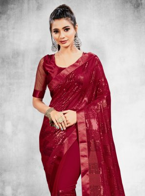 Sequins Faux Georgette Classic Designer Saree in Magenta