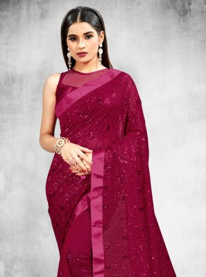Sequins Faux Georgette Classic Saree