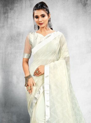 Sequins Faux Georgette Off White Classic Designer Saree